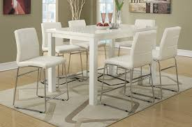 Modern High Gloss White Counter Height Dining Table Set - Bar height dining table white