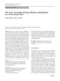 life cycle assessment of energy balance and emissions of a wind