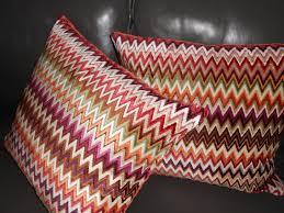 Missoni Home Throw Pillows Nador Cut Velvet Fabric Zigzag Stripe