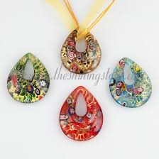 glass necklace pendant images Glitter millefiori teardrop murano glass necklace pendant jpg