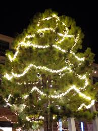 Outdoor Christmas Trees by Outdoor Christmas Tree With Lighted Garlands Picture Free