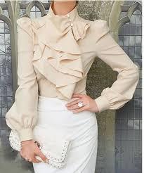 vintage blouse vintage style high neck ruffled blouse