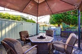 Fire Pit Gazebo by Wooden Deck With Railings And Gazebo With Fire Pit And Chairs
