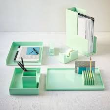 Marble Desk Accessories Desk View In Gallery Mint Office Accessories From West Elm Green