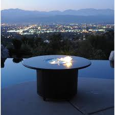 athena round patio chat table with propane burner and granite top