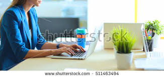 Sitting On The Desk Woman Sitting On Desk Laptop Stock Photo 511463494 Shutterstock
