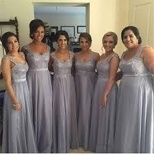 silver bridesmaid dresses 2016 silver grey chiffon bridesmaids dresses a line plus size lace