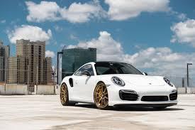 Porsche 911 White - white porsche 911 turbo s with gold velos designwerks wheels