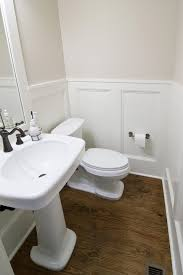 happy design small bathroom with doorless shower chatodining brown wood floor ideas with chic wainscoting best small bathroom design plus modern pedestal sink