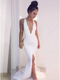 mermaid v neck criss cross straps slit leg white prom dress