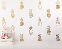 wall stickers etsy pineapple wall decals modern vinyl unique gold decor decal