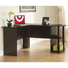 Espresso Reception Desk Dakota L Shaped Desk With Bookshelves Cherry Ameriwood Home