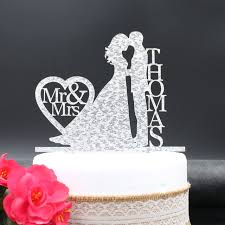 wedding cake toppers and groom modern wedding cake topper with last name and groom