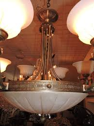 Antique Alabaster Chandelier European Bronze U0026 Alabaster Chandelier 8 Light For Sale