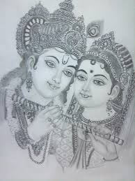 radha krishna easy drawing sketches with pencil colors drawn flute