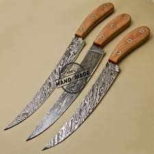 lot of 3 pcs damascus kitchen knives custom handmade damascus