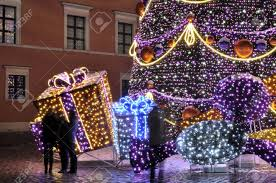 warsaw poland december 14 2012 christmas lights on the