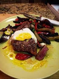 Steak Drapes Summer Steak With Egg On A Stacked Salad U2013 U201ckitchen Meltdown Aka