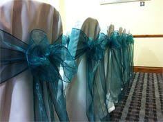 teal chair sashes white linen chair covers with teal green organza sashes wedding