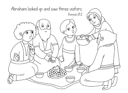 free bible coloring page abraham and sara visitors