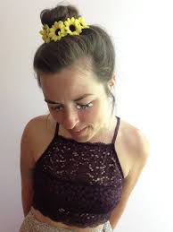 hippie hair wrap sunflower bun wrap leather bun crown with small sunflowers boho