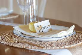 Diy Place Cards Gold Diy Place Cards U0026 Thanksgiving Tablescape The Inspired Room