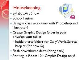 agenda housekeeping syllabus defining graphic design art