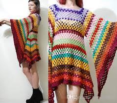 boho crochet 2018 handmade square stripe bell sleeve boho crochet
