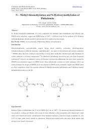 n u2013 methyl thiomethylation and n hydroxymethylation of phthalimide