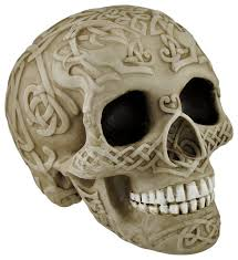 Celtic Skull - bone colored skull with celtic knotwork statue pagan traditional