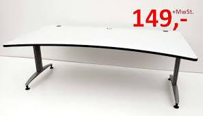 Schreibtisch Gebraucht Schreibtisch 200 Cm Cockpitform Weißgrau Schärf