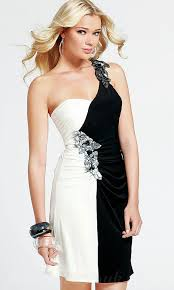 buy cheap one shoulder black and white beaded satin short