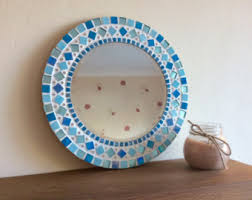 Mosaic Bathroom Mirrors by Round Wall Mirror In Turquoise Teal Gray And Copper