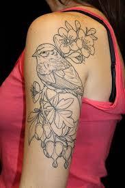 half sleeve bird and flowers tattoos for women tattoo ideas