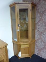 Corner Glass Display Cabinet Ebay Oak Corner Display Cabinet Ebay