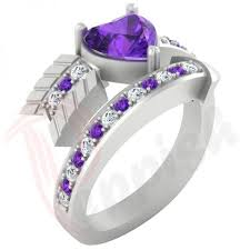personalized rings for day rings for 1 55ct purple heart shape cz