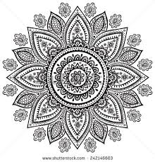 Indian Flower Design Flower Mandala Vintage Decorative Elements Oriental Stock Vector