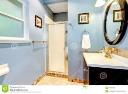 light blue bathroom light blue bathroom with tile trim stock photo image 39702912