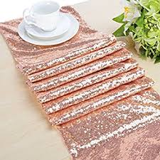 gold table runner and placemats amazon com choose your sizes rose gold sequin table runner overlay