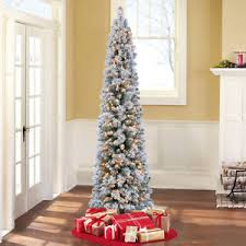 7 artificial flocked pencil green pine tree clear