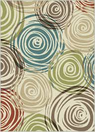 Rug Color Ivory Contemporary Circles Area Rug Modern Geometric Swirls Multi