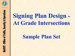 signing plan design at grade intersections sample plan set ppt