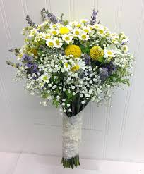wedding flowers seattle garden bridal bouquet with chamomile lavender craspedia and