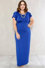 royal blue short sleeve ruffled plus size formal dress