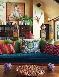 ambiance canape idée déco salon bohème canapé bleu ambiance exotique tableau