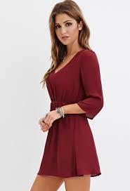 forever 21 v neck mini dress in purple lyst