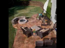 Stone Patio With Fire Pit Stamped Concrete Flagstone Patio With Fire Pit And Knee Wall Youtube