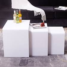 white nest of tables uenjoy high gloss nest of coffee table side table living room white