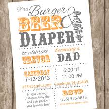 burgers and beer diaper baby shower invitation orange and grey