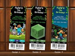 minecraft birthday invitations minecraft birthday invitations ticket kustomkreations